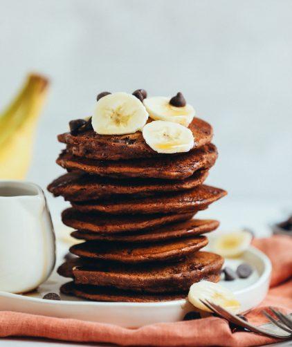 Stack of Vegan Chocolate Chocolate Chip Pancakes