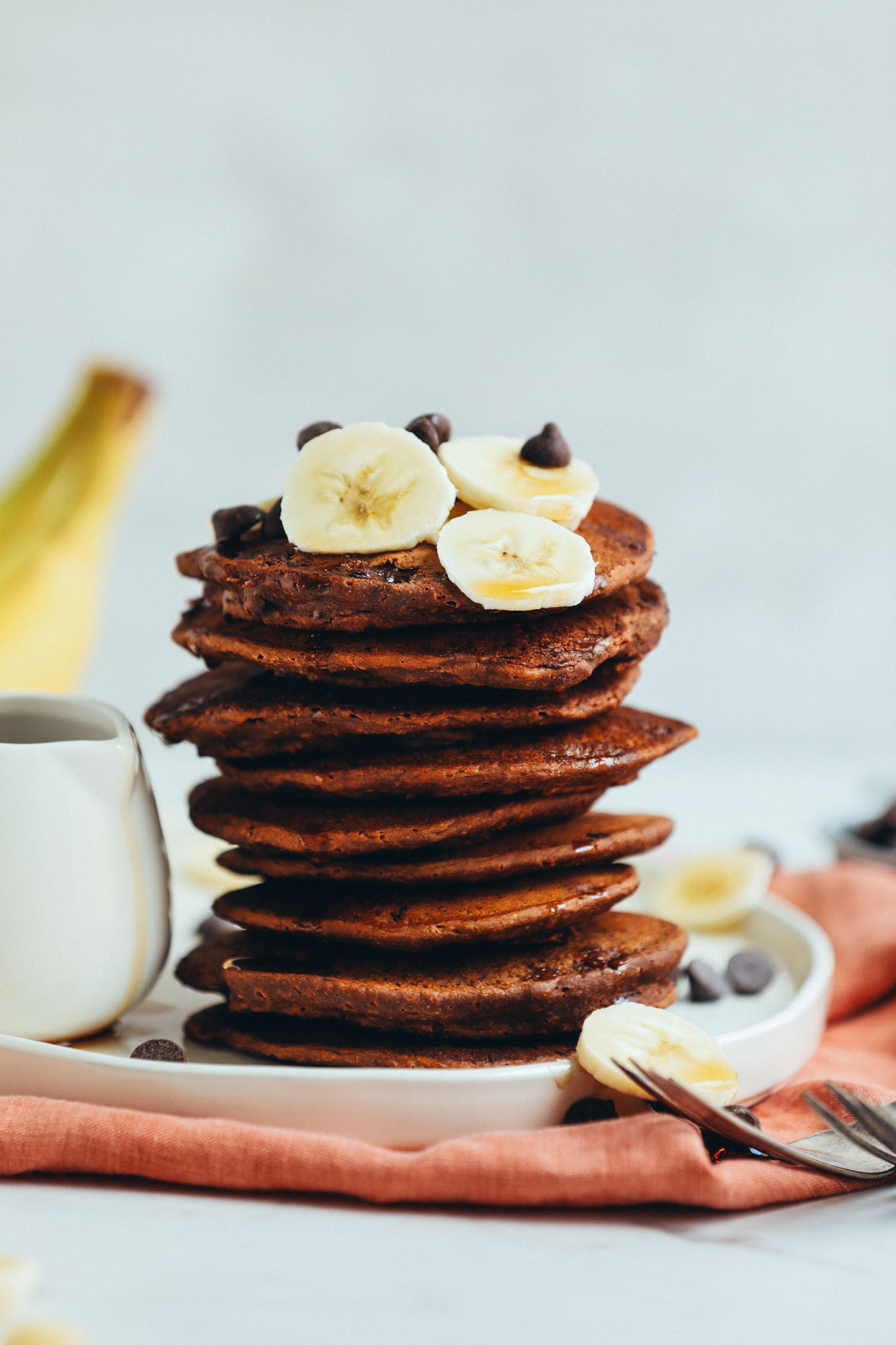 Stack of Vegan Chocolate Chocolate Chip Pancakes