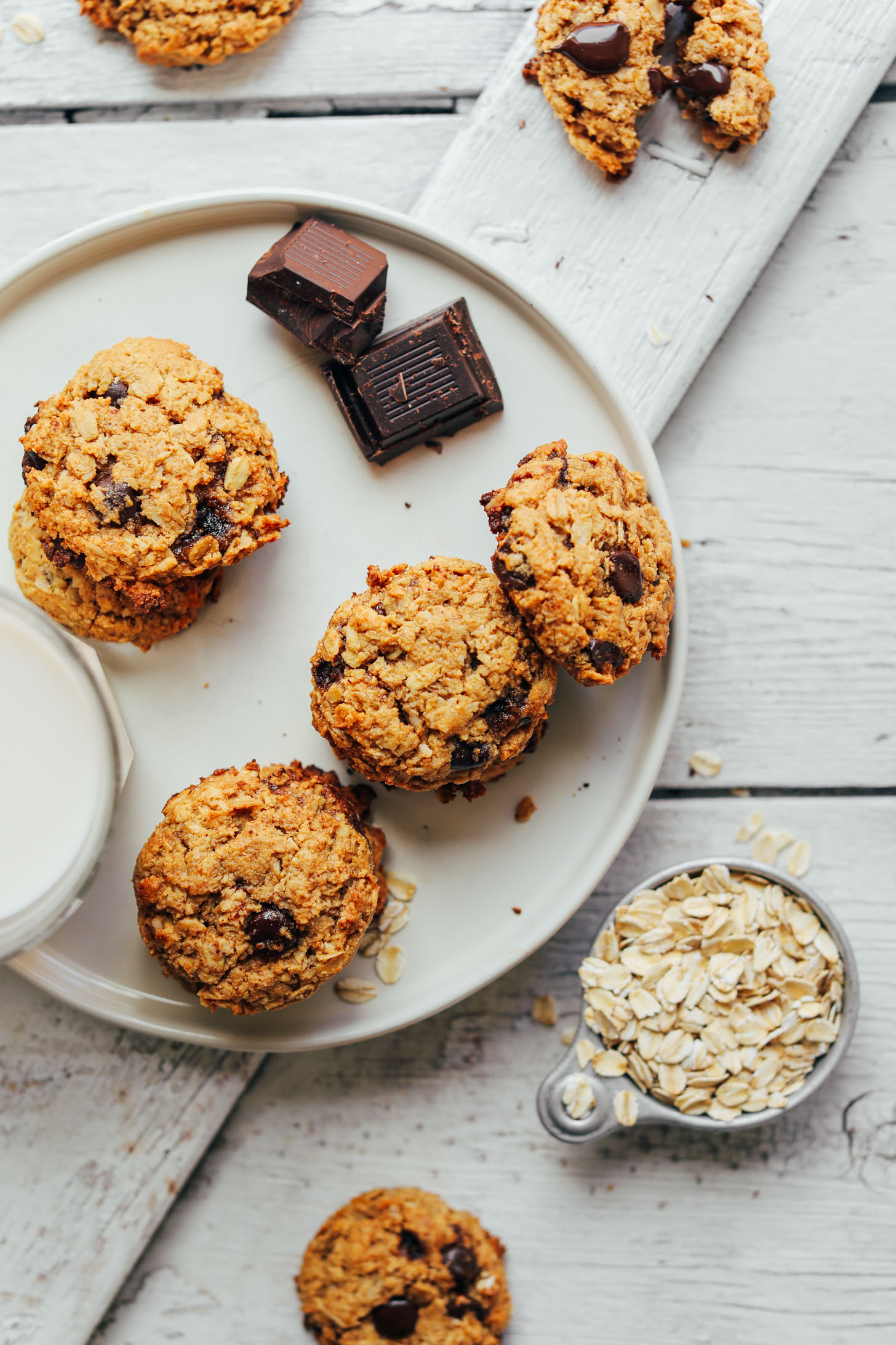 Plate of Healthy Gluten-Free Vegan Oatmeal Chocolate Chip Cookies