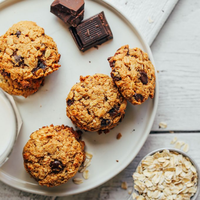 A plate of Healthy Oatmeal Chocolate Chip Cookies