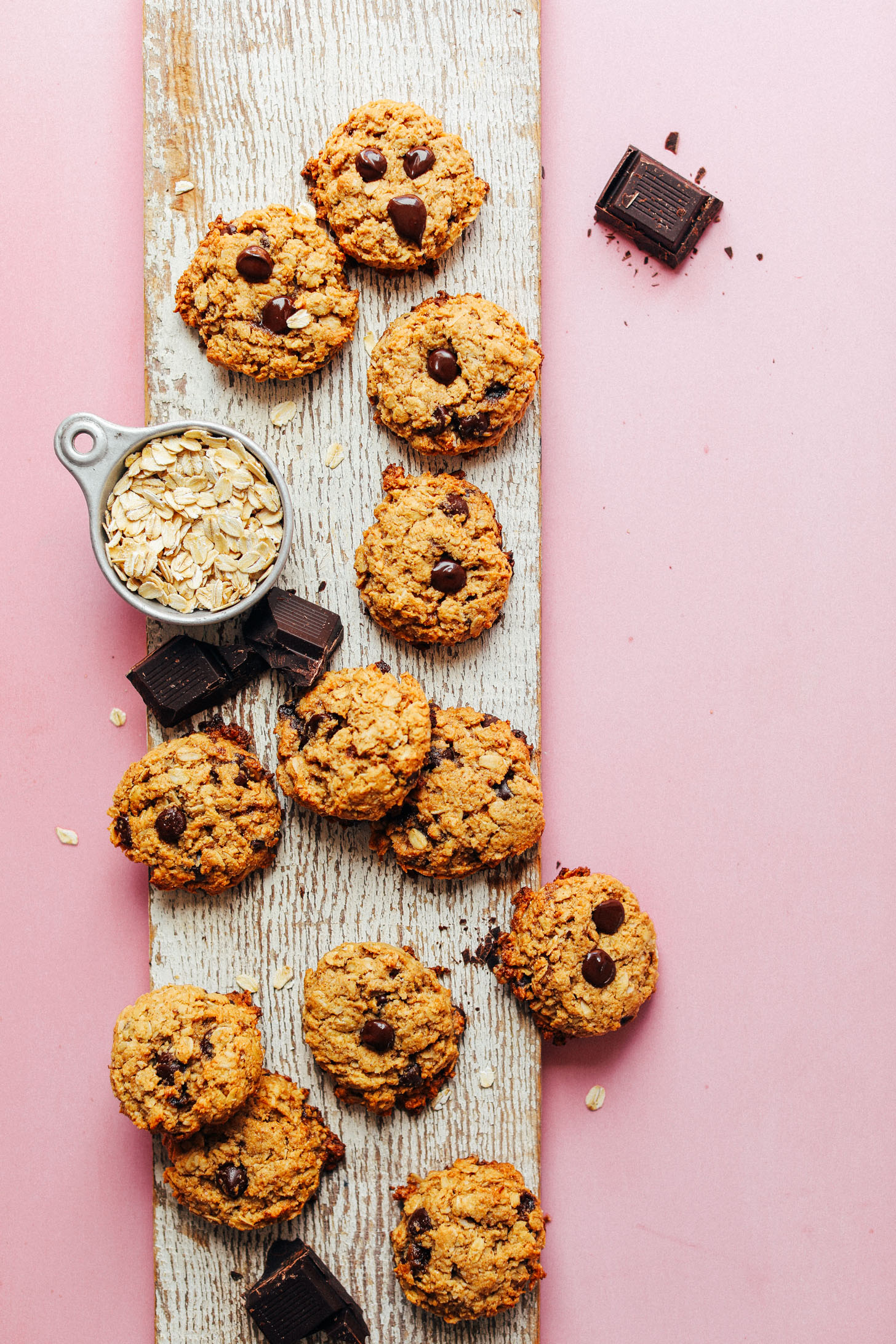 Display of healthy gluten-free vegan Oatmeal Chocolate Chip Cookies