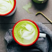 Close up shot showing the foamy latte art on my homemade matcha latte