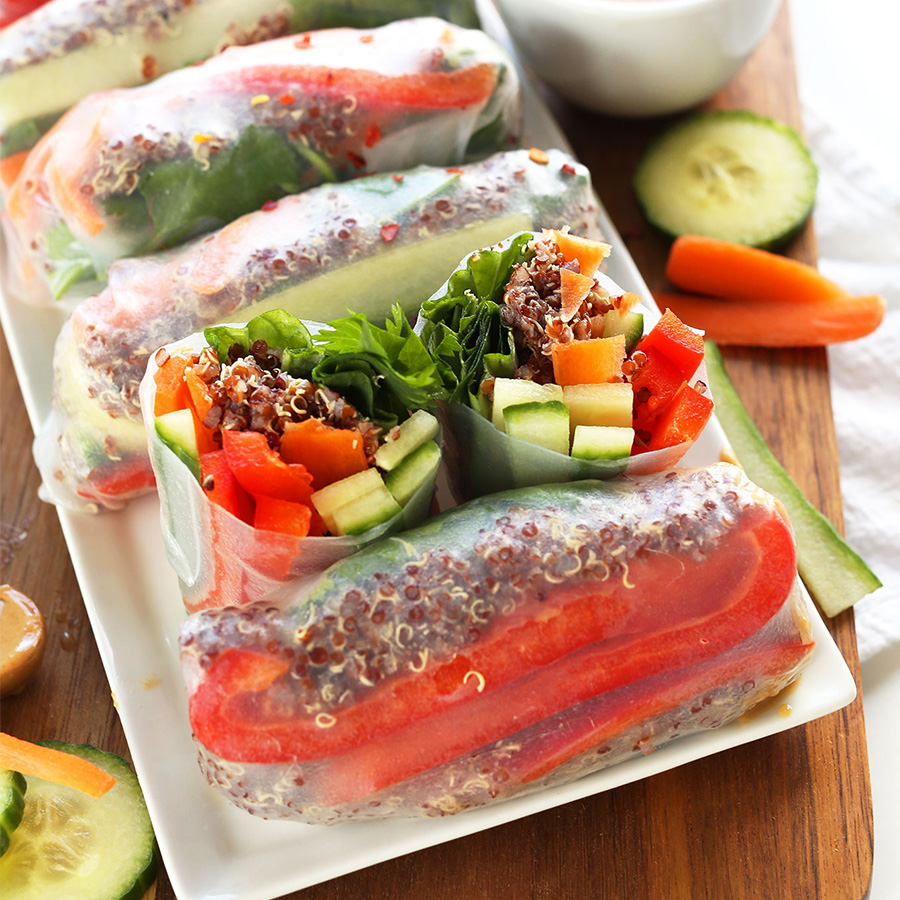 Veggie quinoa spring rolls on a tray for our 16 Vegan Entrees for Stress-Free Cooking roundup