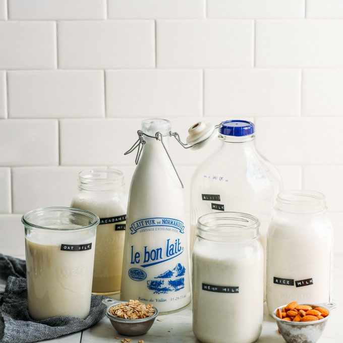 Jugs of non-dairy milk for our Complete Guide to Dairy-Free Milk