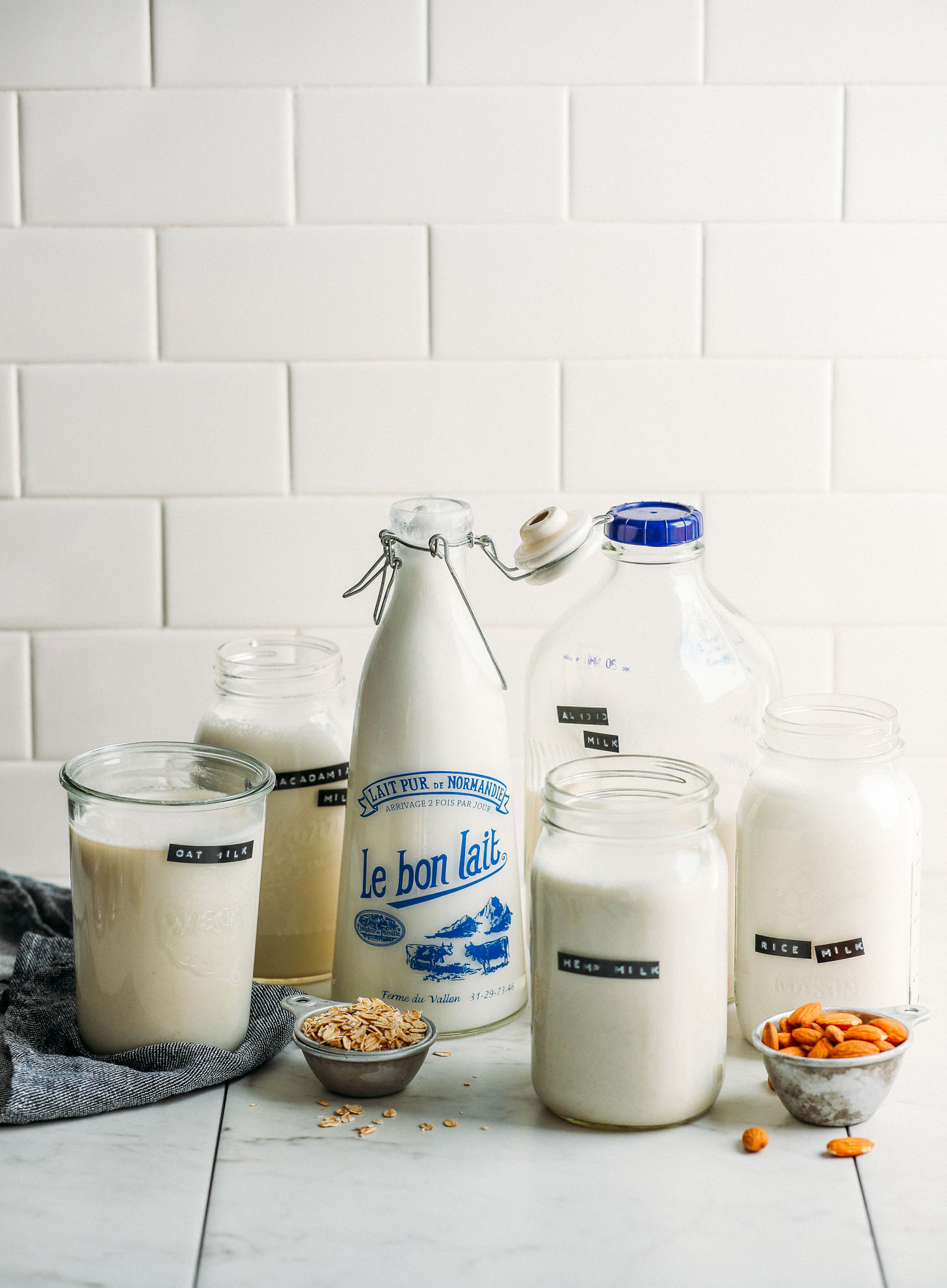 Jars of homemade dairy-free milks