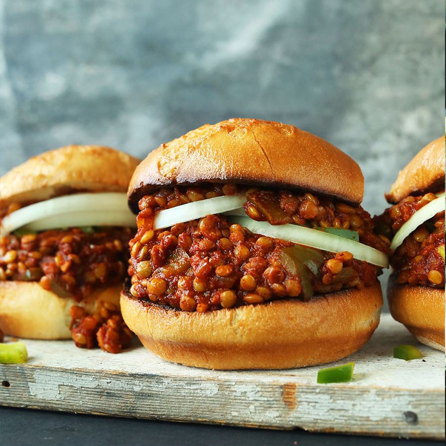 Vegan sloppy joes made with lentils for our roundup of Vegan Entrees for Stress-Free Cooking