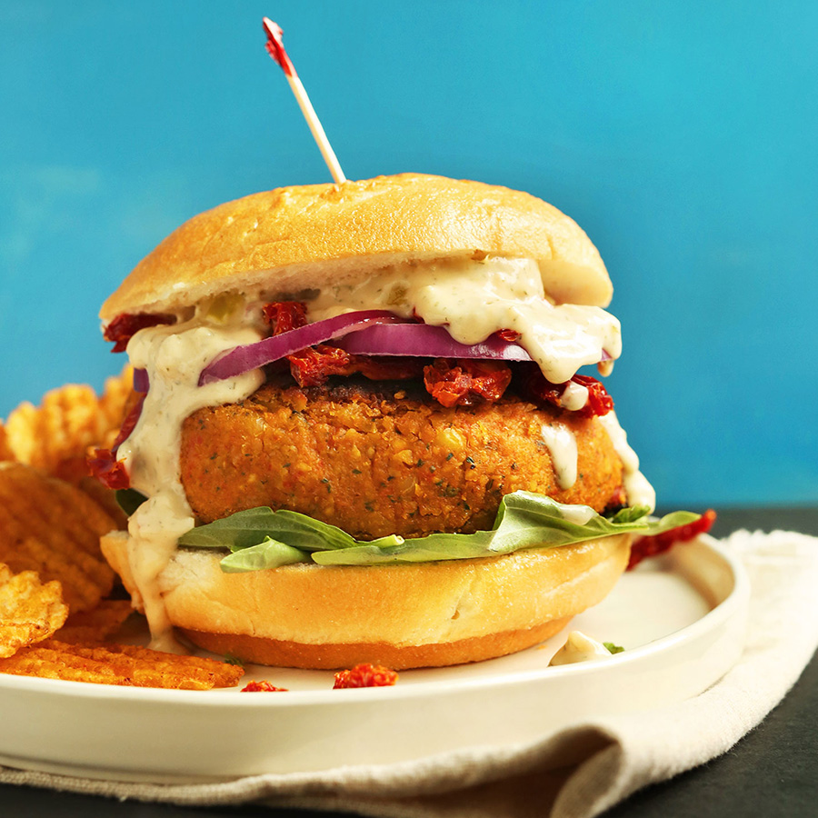 Sundried tomato chickpea burger for our 16 Vegan Entrees for Stress-Free Cooking roundup