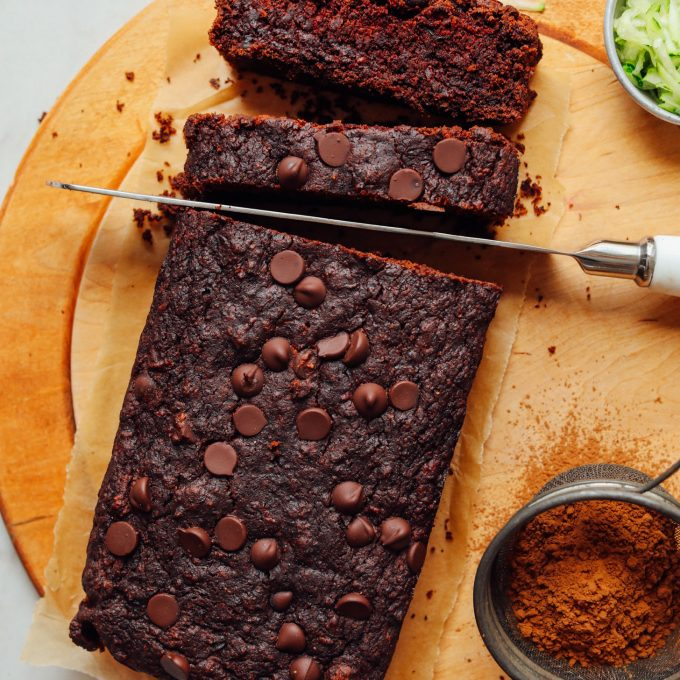 Slicing into Vegan Chocolate Chip Zucchini Bread