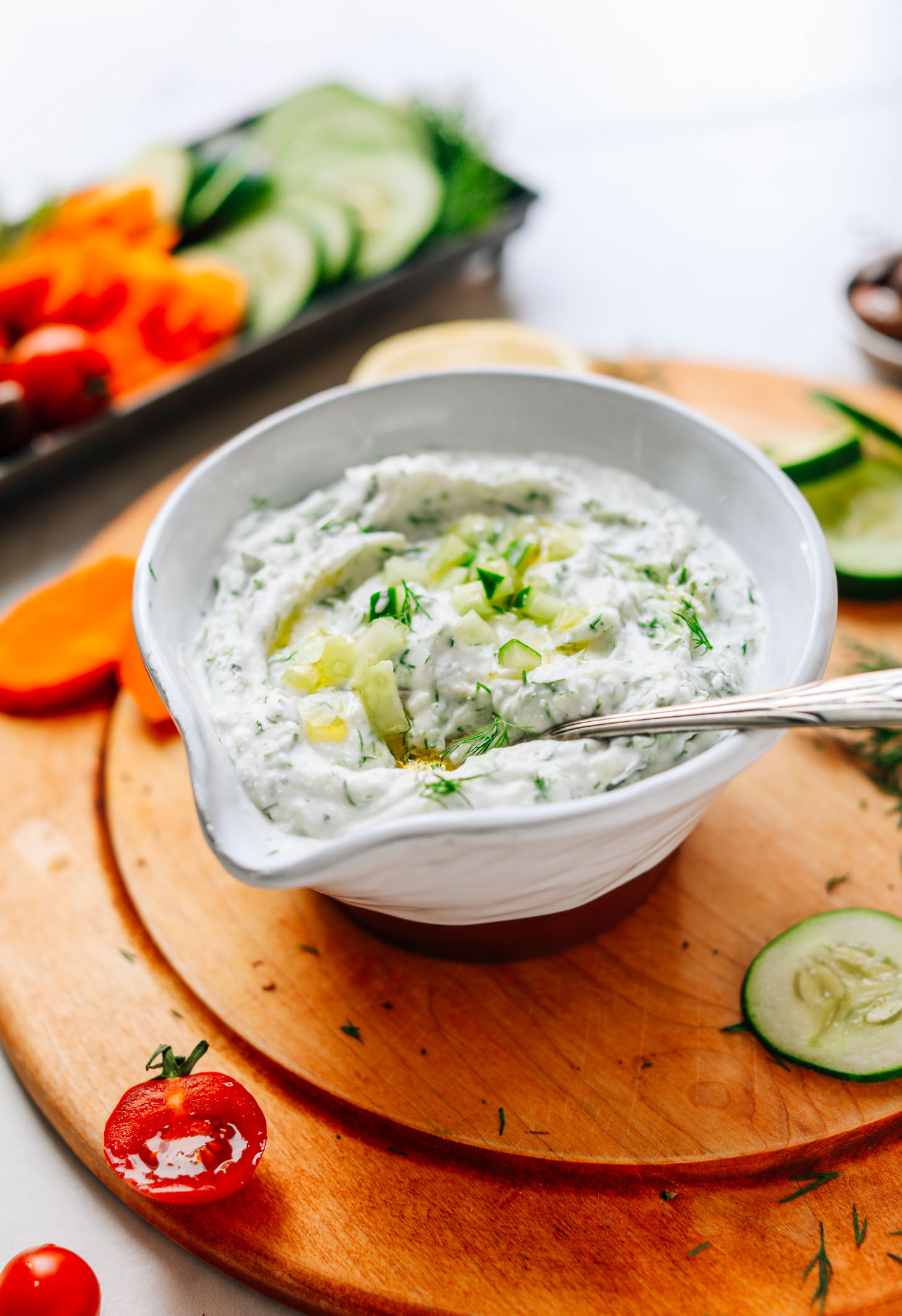 Close up shot of a bowl of delicious Vegan Tzatziki