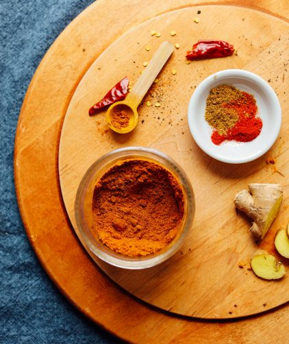 DIY Shawarma Spice ingredients on a cutting board
