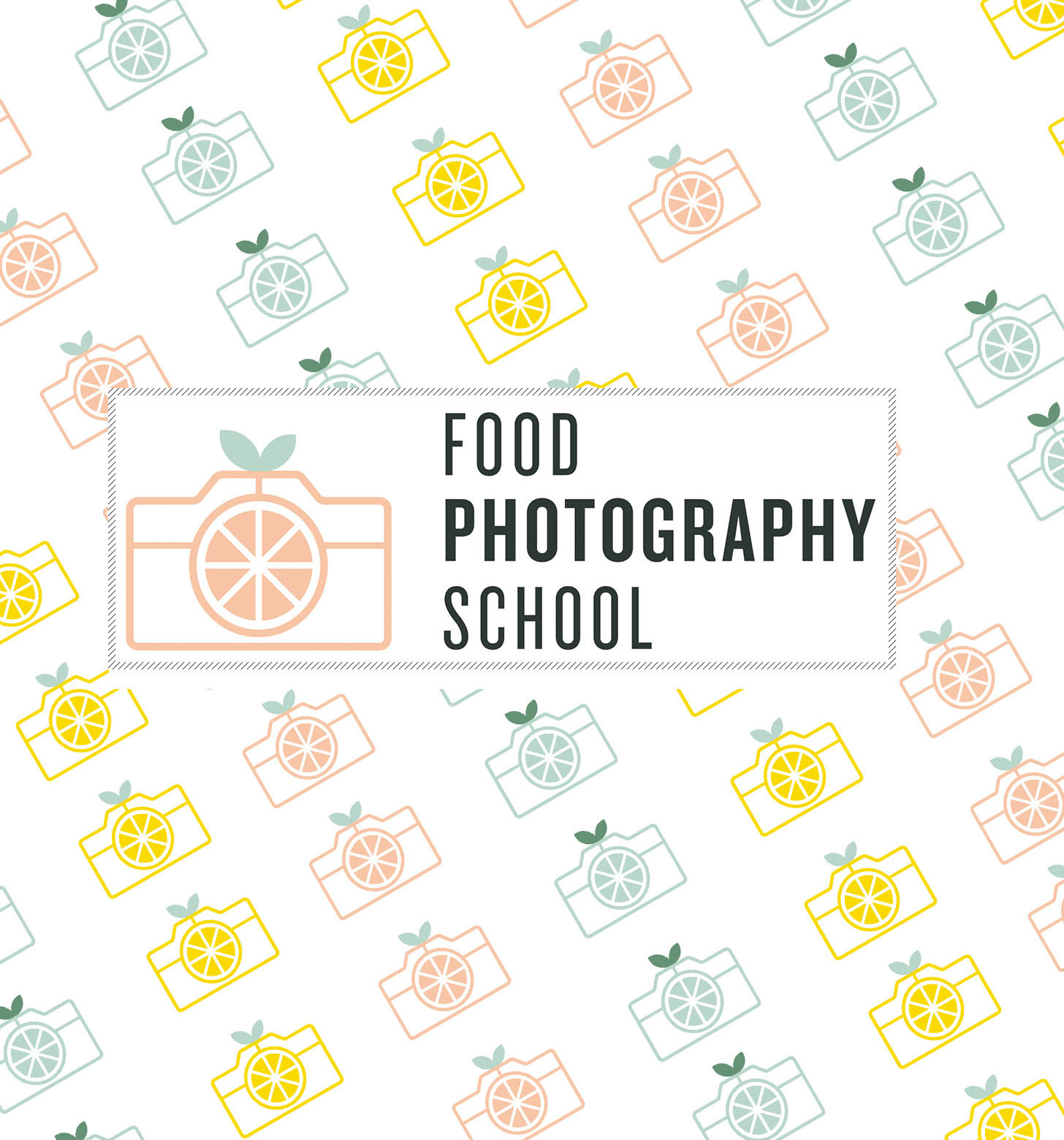 Food photography school logo on a background of citrus-y cameras