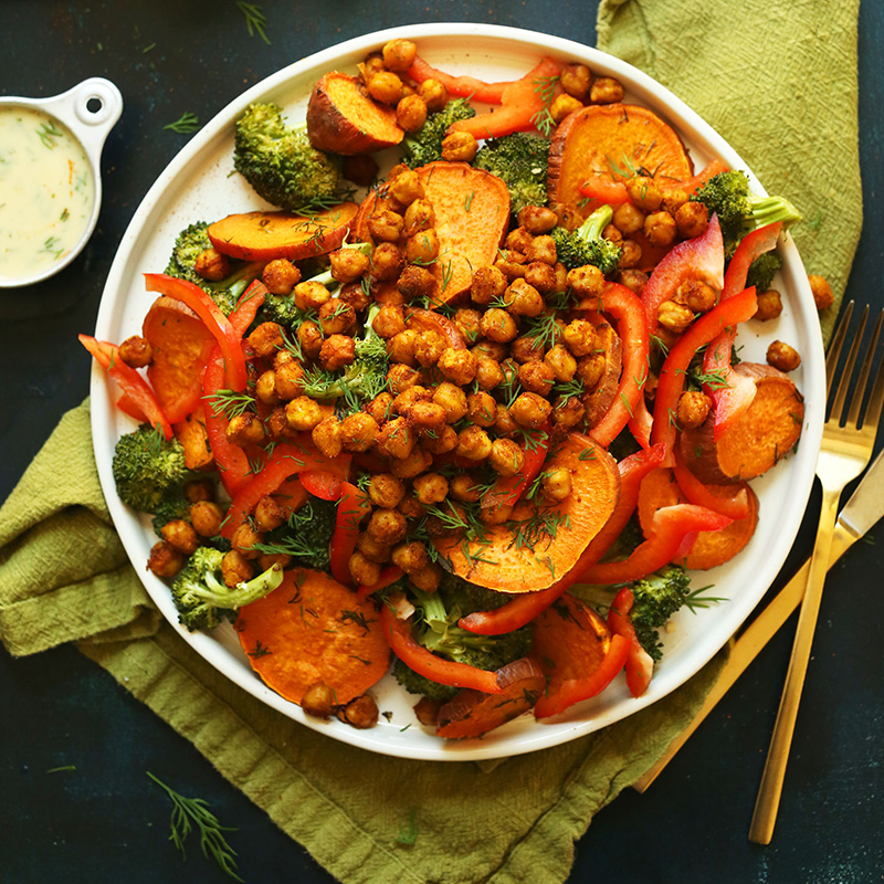 Big plate of Savory Broccoli Sweet Potato Salad for our roundup of 10 Healthy Vegan Weeknight Dinner recipes