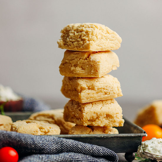 Stack of Vegan Gluten-Free Biscuits on a tray