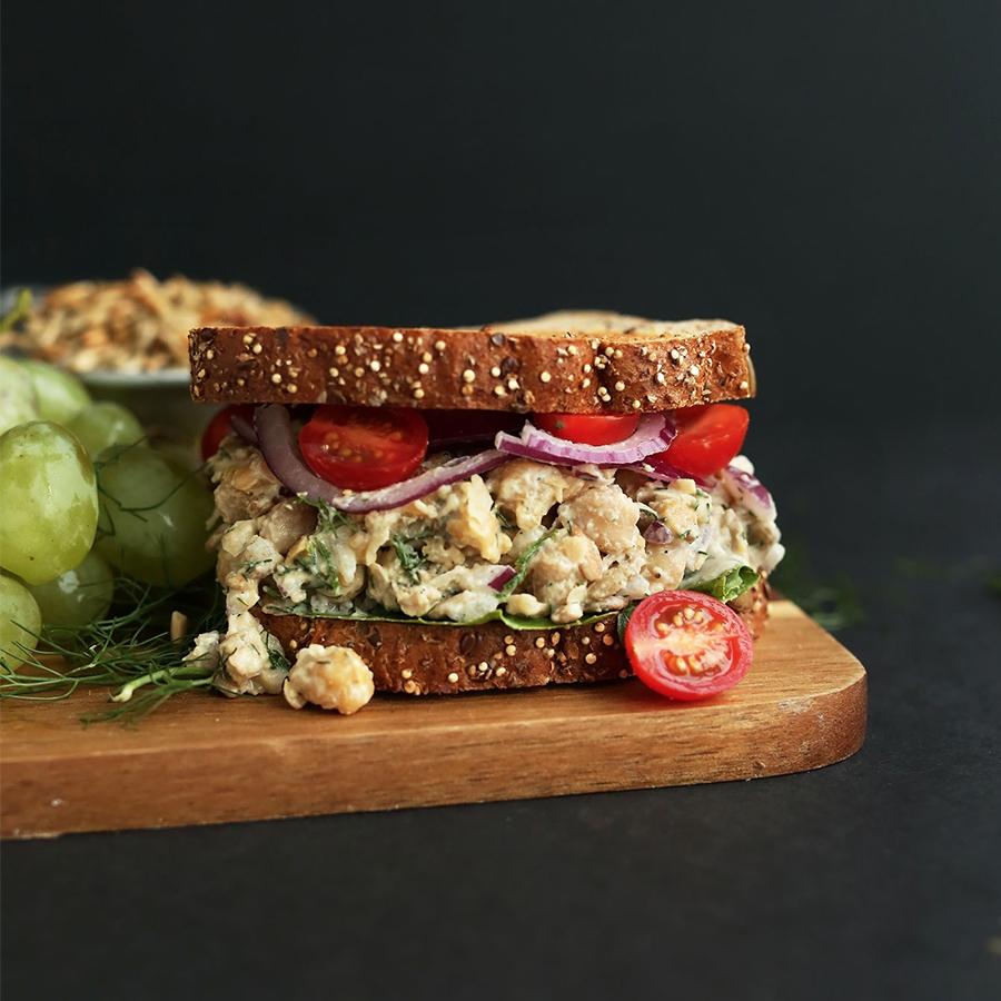 Chickpea Sunflower Sandwich for a Vegan Lunchbox Idea