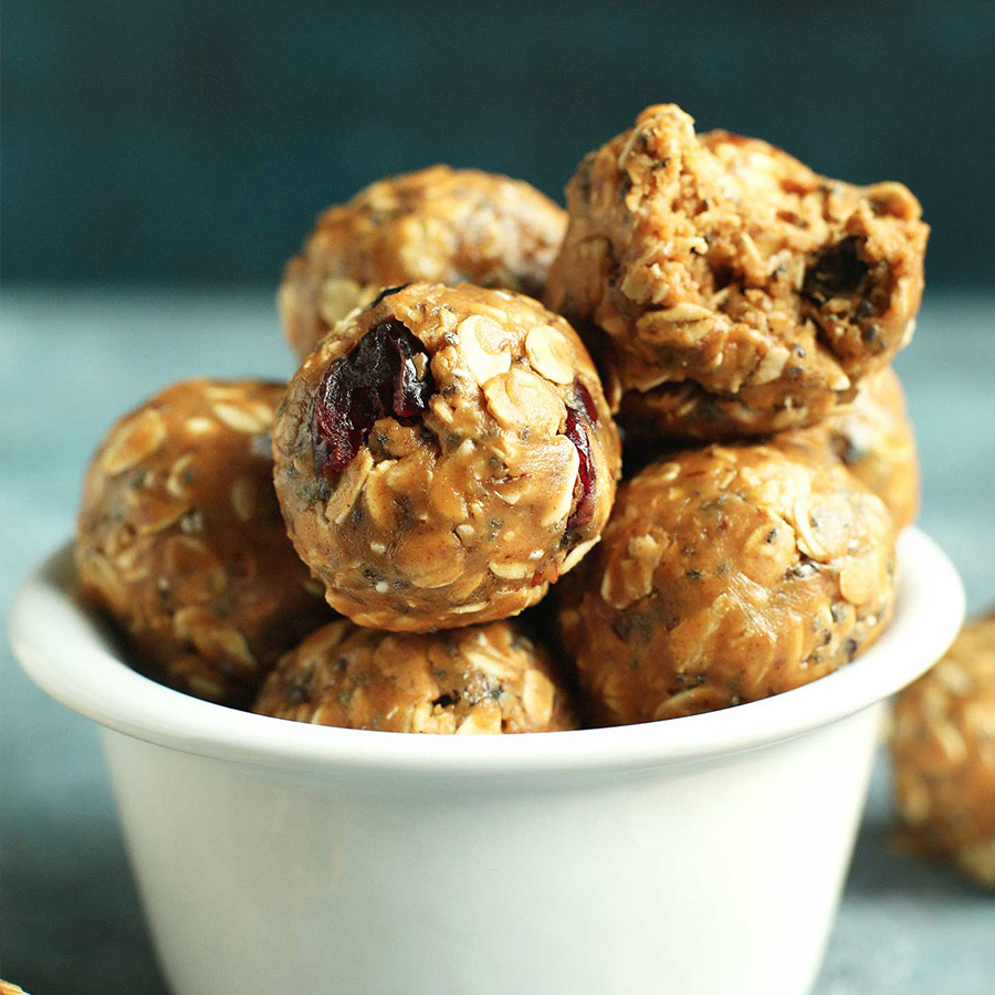 Bowl of PB&J Energy Bites for our roundup of 10 Vegan Lunchbox Ideas