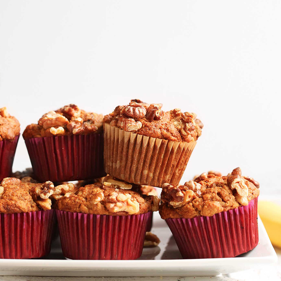 Plate of Vegan Banana Nut Muffins for our Lunchbox Ideas recipe roundup