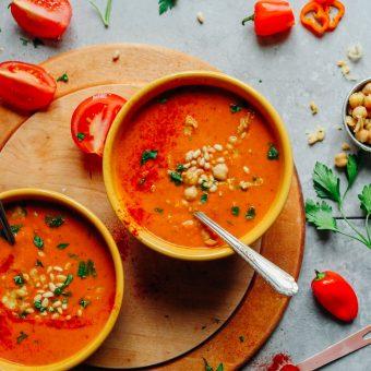AMAZING Romesco Soup with Smashed Chickpeas! 10 ingredients, simple methods, BIG flavor! #vegan #plantbased #redpepper #soup #romesco #recipe #glutenfree #minimalistbaker