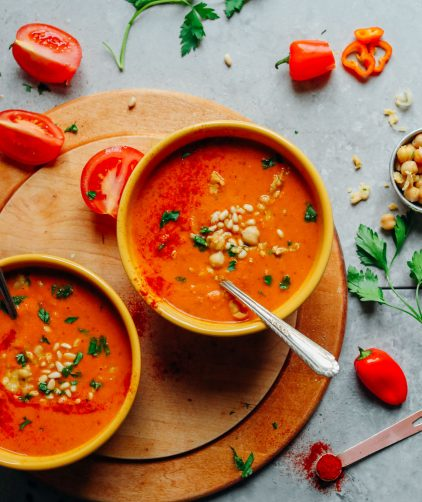 Romesco Soup with Smashed Chickpeas