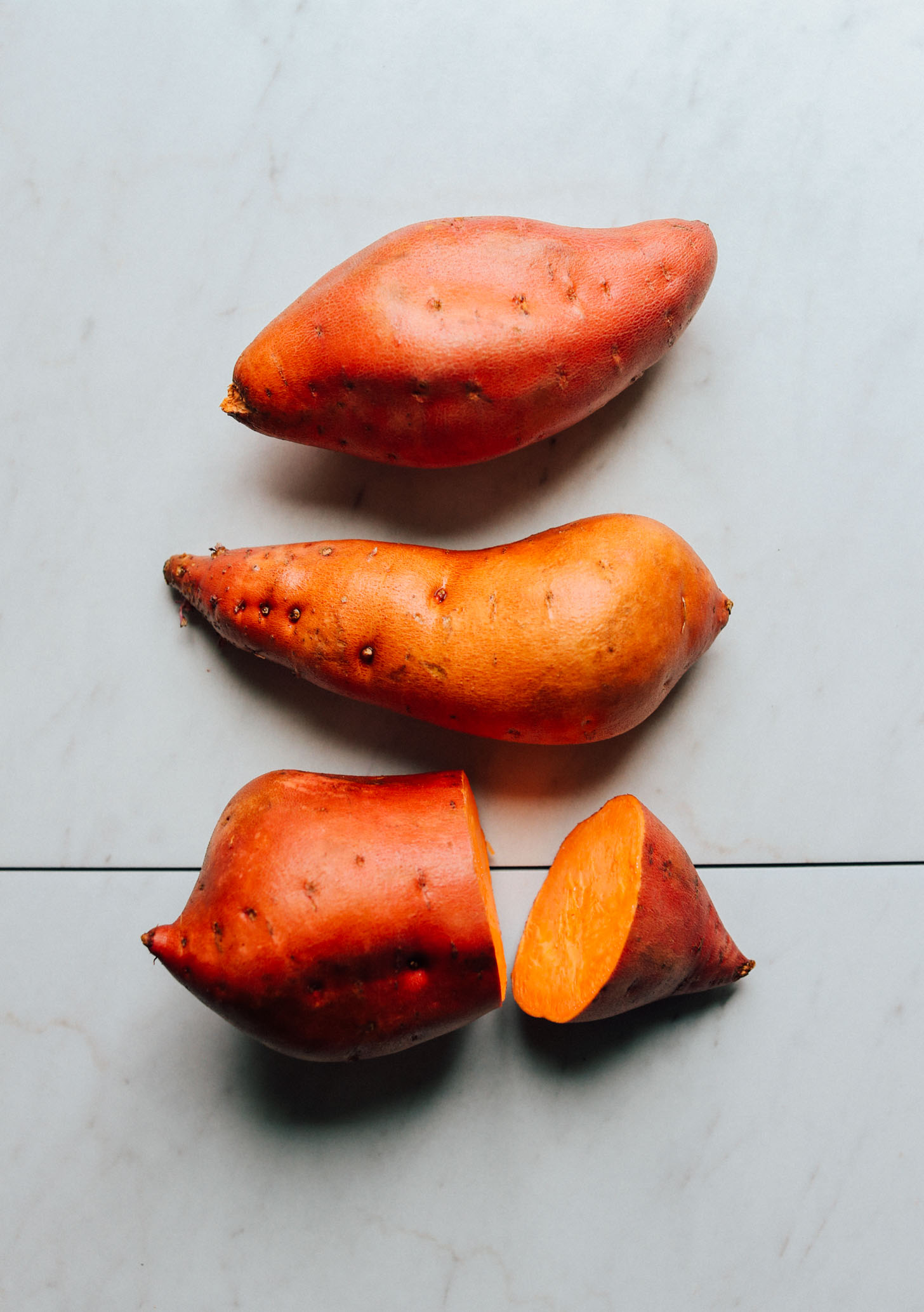 Beautiful unpeeled sweet potatoes for making Sweet Potato Lentil Shepherd's Pie