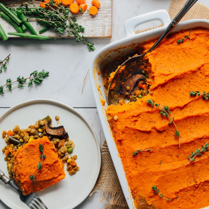 AMAZING Sweet Potato Lentil Shepherd's Pie! 10 ingredients, quick + easy methods, SO satisfying! #vegan #sweetpotato #lentil #plantbased #shepherdspie #thanksgiving #recipe #glutenfree #minimalistbaker