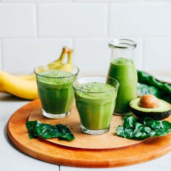 CREAMY Avocado Green Smoothie! 5 ingredients, GREEN, SO healthy + satisfying #vegan #banana #plantbased #smoothie #greensmoothie #avocado #glutenfree #minimalistbaker