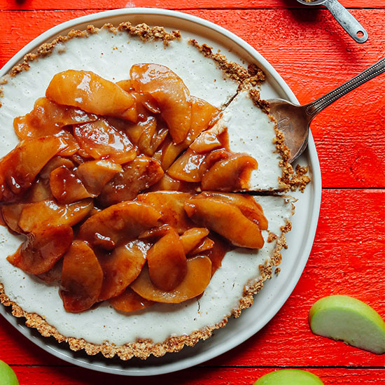 Removing a slice of Caramel Apple Tart from a plate