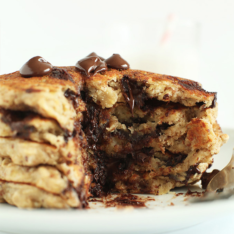 Stack of Oatmeal Chocolate Chip Cookie Pancakes for an Easy Vegan Breakfast idea