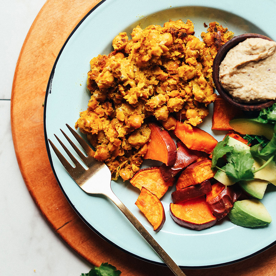 Plate of our Chickpea Scramble with vegetables for a delicious Easy Vegan Breakfast Idea