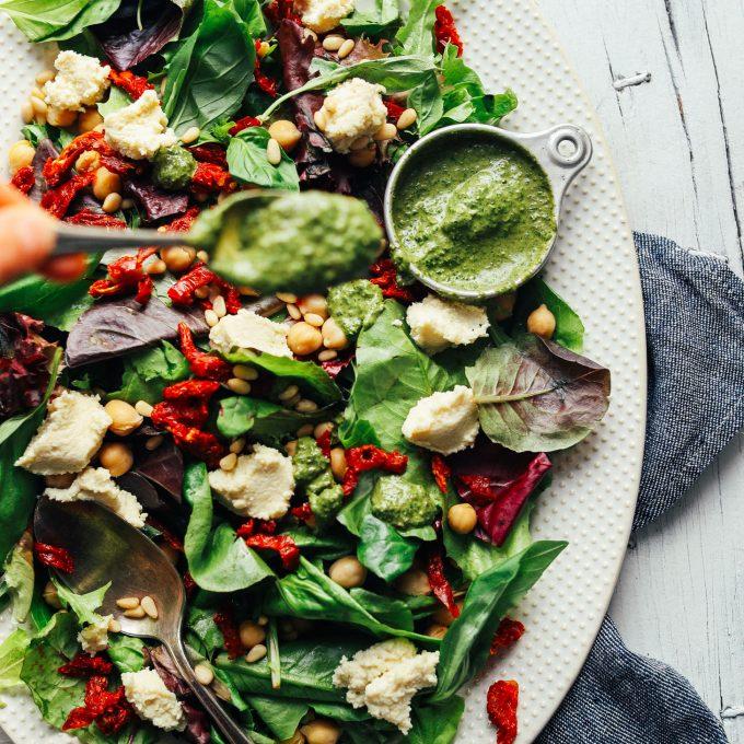 Vegan Ricotta & Sun-Dried Tomato Pesto Salad