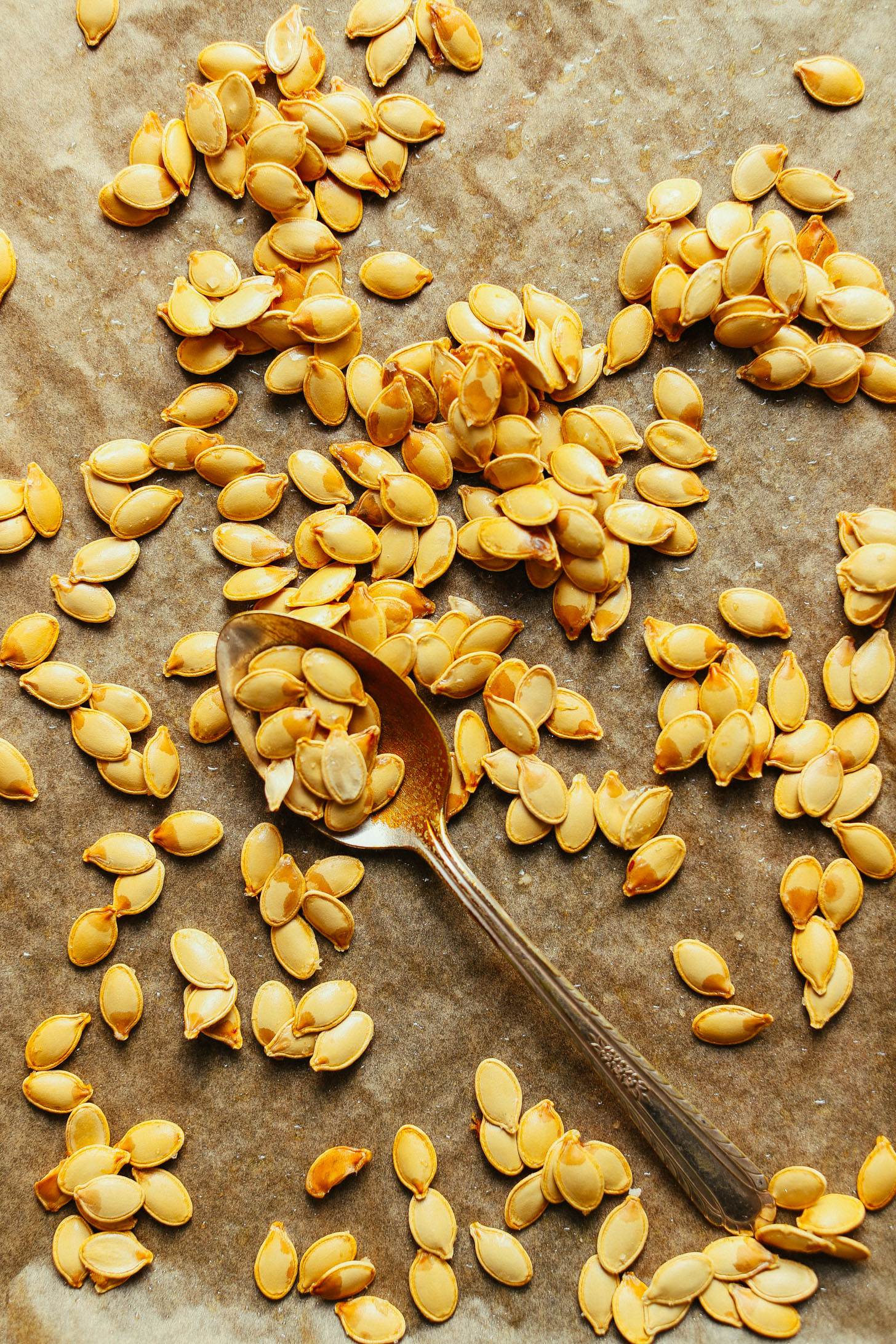 Spoon scooping up fresh pumpkin seeds to make our Roasted Pumpkin Seeds recipe