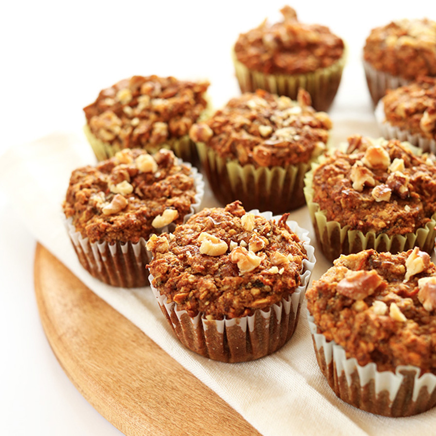 Gluten-free carrot muffins for our roundup of 14 Easy Vegan Breakfast Ideas