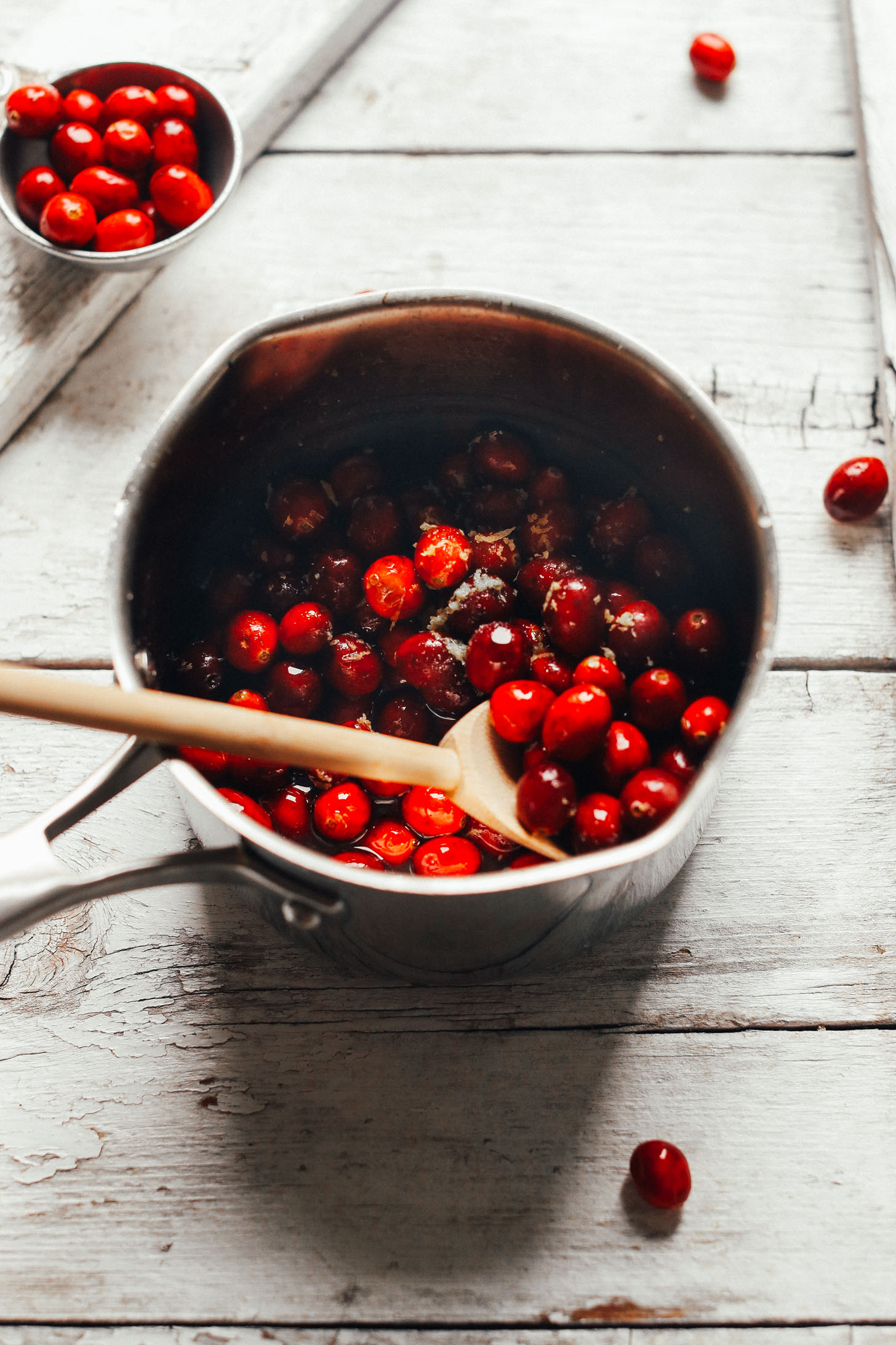 Saucepan with fresh cranberries for making our flavorful Cranberry Vinaigrette