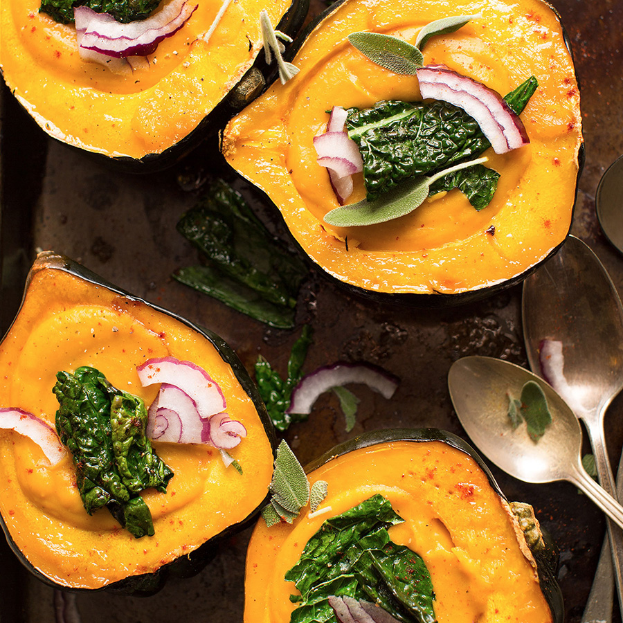 Vegan Acorn Squash Soup served in squash boats