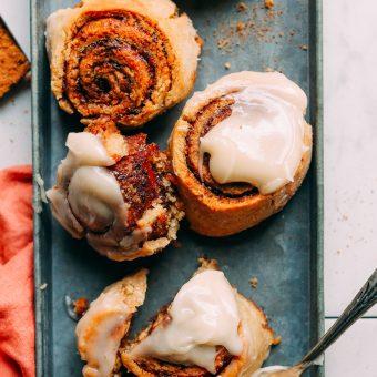AMAZING Vegan Gluten Free CINNAMON ROLLS! 10 ingredients, simple methods, SO tender and delicious! #vegan #plantbased #dessert #cinnamonrolls #recipe #glutenfree #minimalistbaker