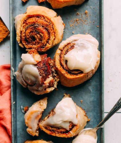 Platter full of delicious Vegan Gluten Free Cinnamon Rolls