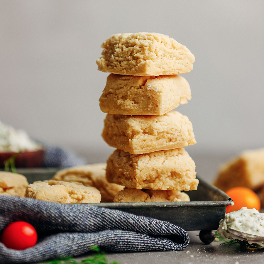 Stack of our Vegan Gluten-Free Biscuits on a metal tray