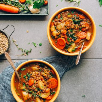 Delicious and EASY Everyday Lentil Soup! 8 wholesome ingredients, 1 pot, and 30 minutes! #vegan #plantbased #dinner #lentil #recipe #glutenfree #soup #minimalistbaker
