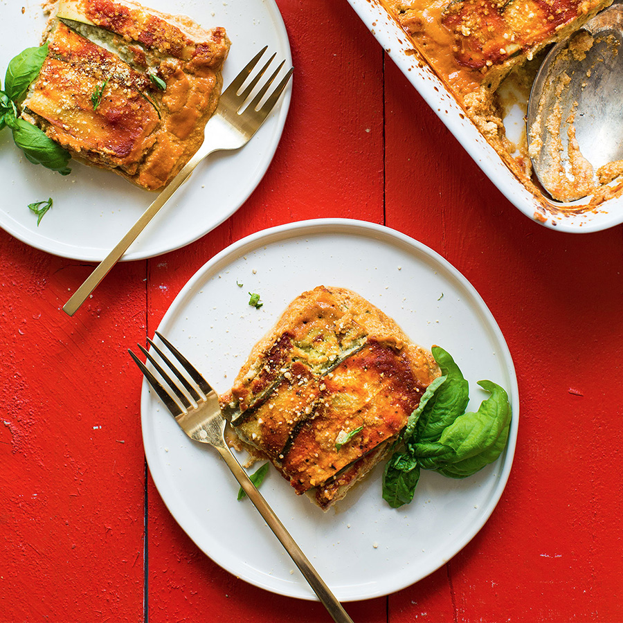 Plates with slices of our Easy Vegan Gluten-Free Zucchini Lasagna