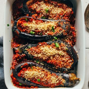INCREDIBLE Moroccan Lentil Stuffed Eggplant! 9 ingredients, BIG flavor, so delicious! #vegan #plantbased #eggplant #lentils #recipe #glutenfree #minimalistbaker