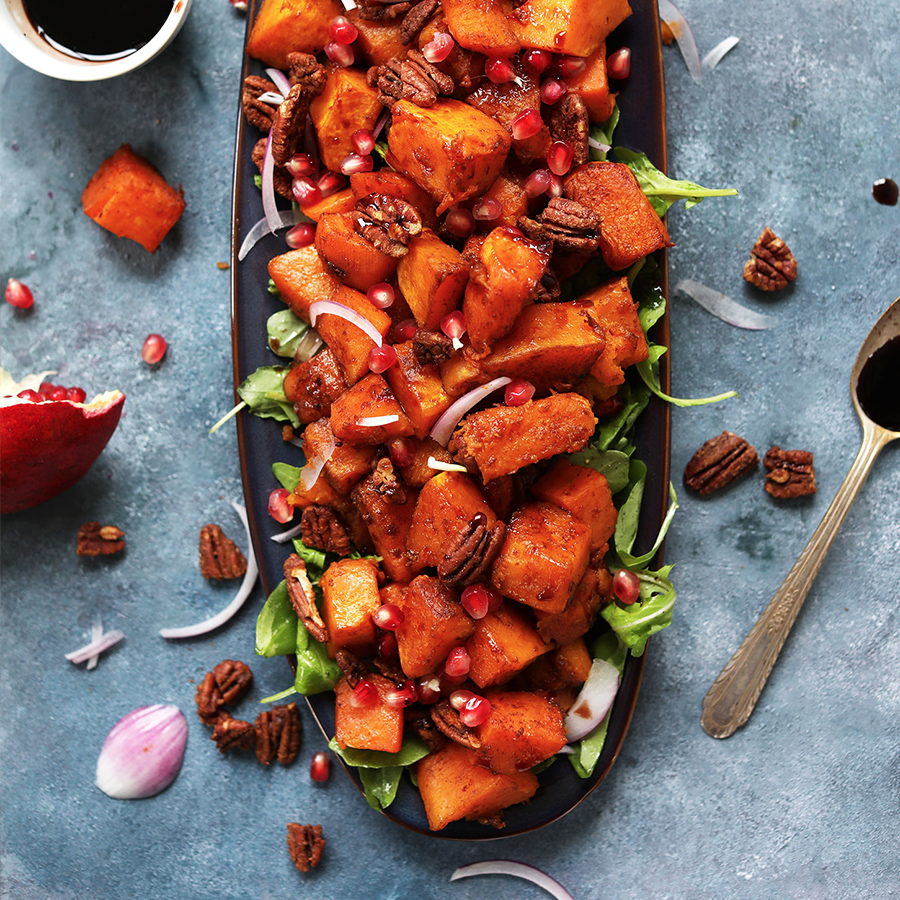 Platter of our Sweet and Spicy Roasted Squash Salad with Pecans and Pomegranate