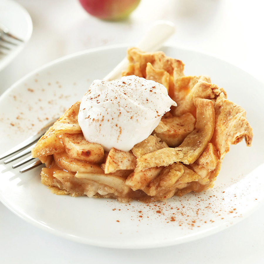 Slice of Vegan Pumpkin Spiced Apple Pie on a plate