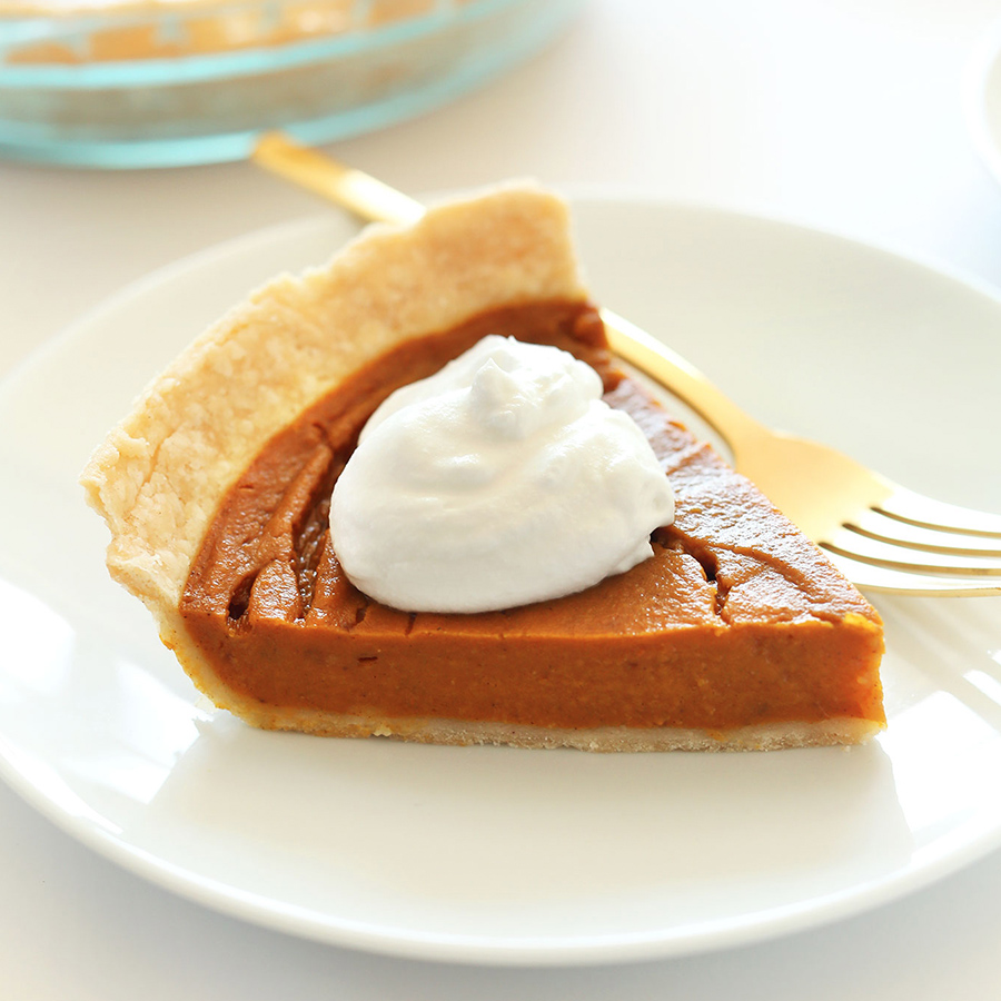 Plate with a slice of our simple Vegan Gluten-Free Pumpkin Pie recipe