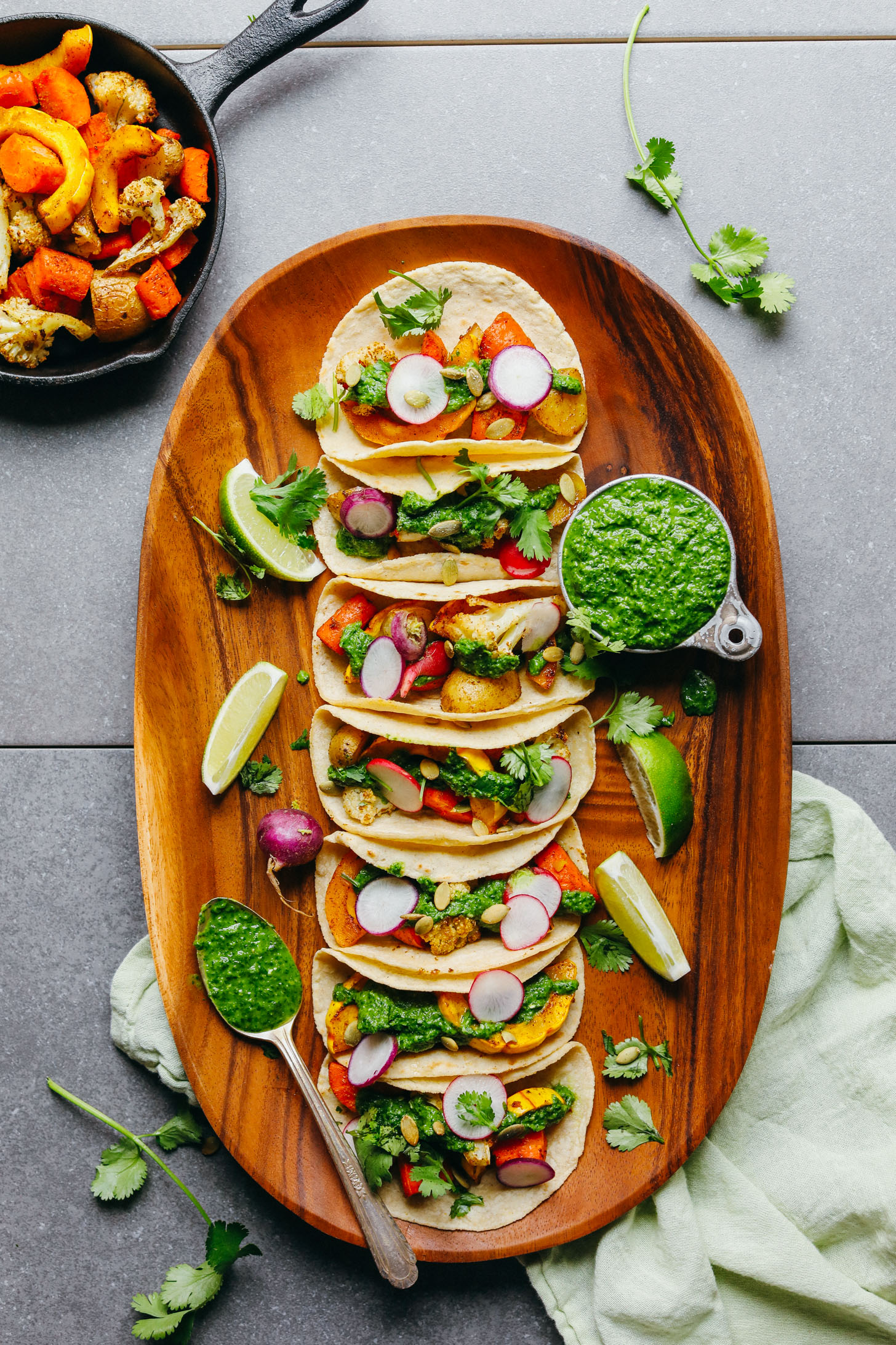 30-Minute Roasted Vegetable Tacos with Chimichurri! BIG flavor, satisfying, HEALTHY! #vegan #glutenfree #plantbased #tacos #chimichurri #cauliflower #minimalistbaker #recipe