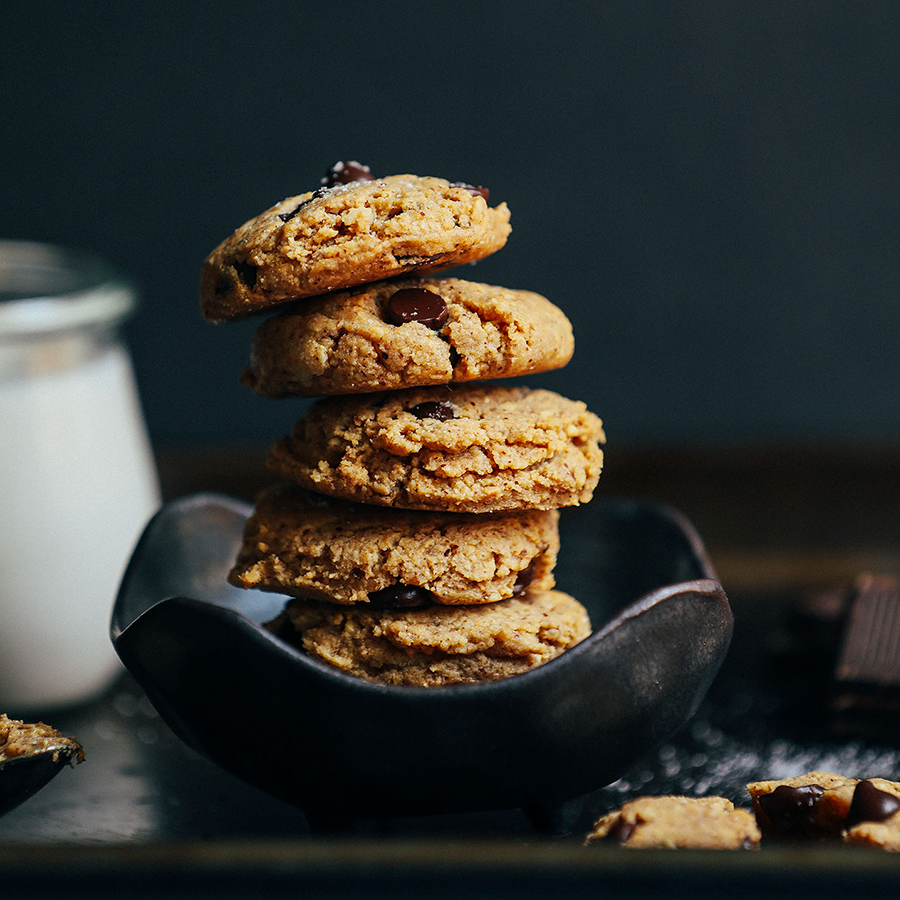 Bowl with a stack of our amazing Almond Butter Chocolate Chip Cookies recipe