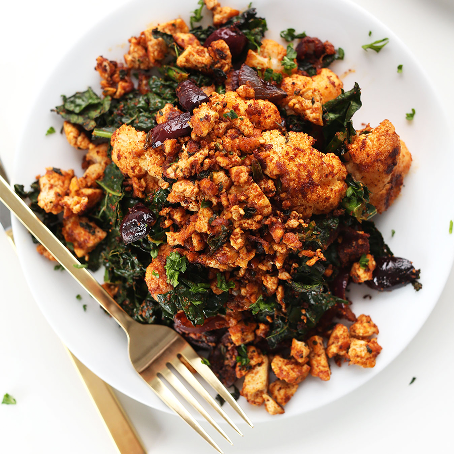 Plate filled with our healthy Masala Spiced Tofu Scramble recipe