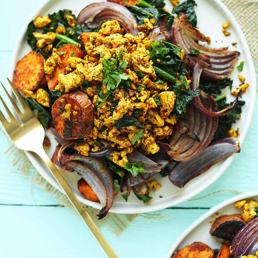 Big plate of Savory Tofu Scramble with roasted vegetables