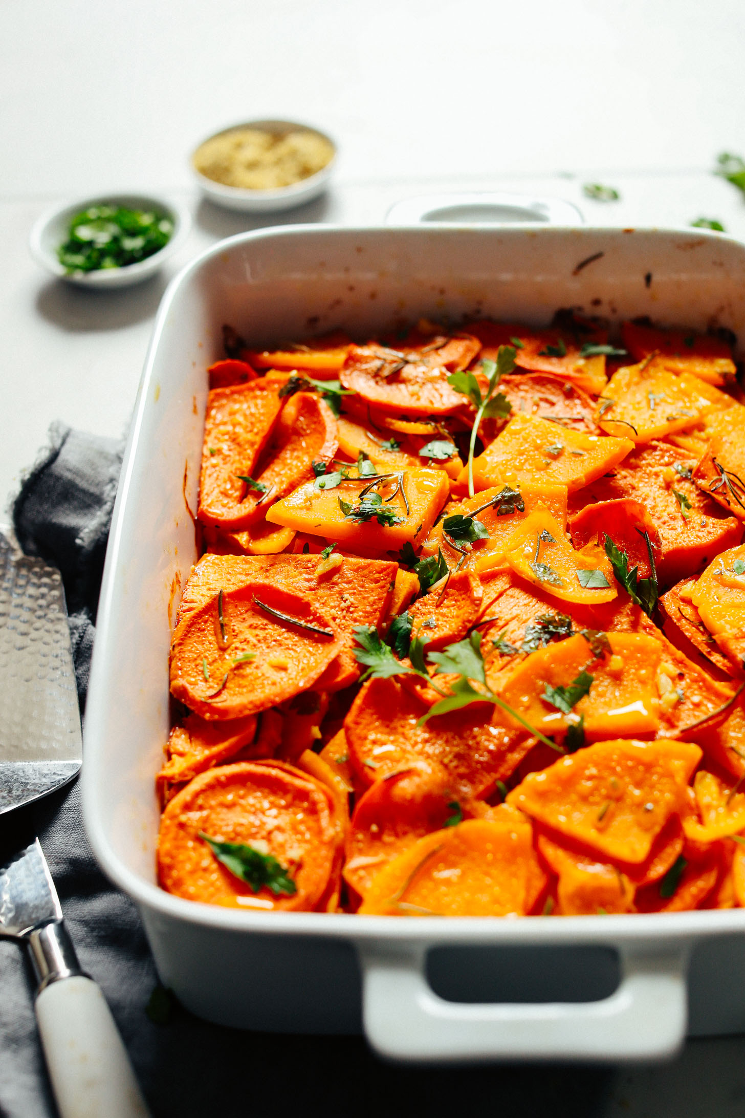 A batch of freshly baked Vegan Sweet Potato Butternut Squash Tortilla