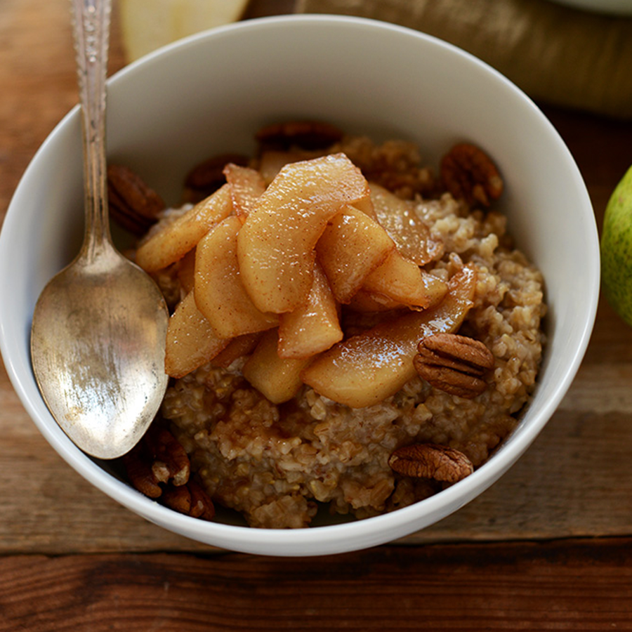 Bowl of Steel Cut Oats topped with Brown Sugar Pears