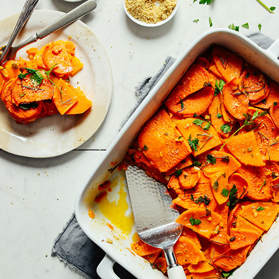 Plate and pan of our gluten-free Butternut Squash Gratin recipe
