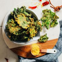 Bowl of Cheesy Sunflower Kale Chips